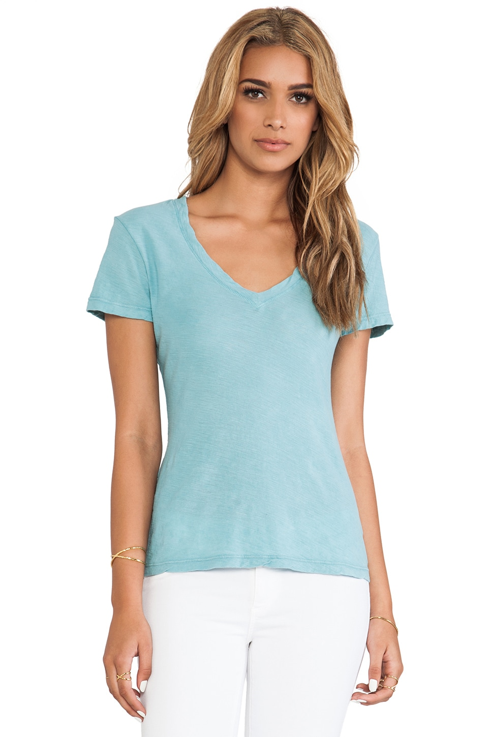 James Perse Casual Tee with Reverse Binding in Rain
