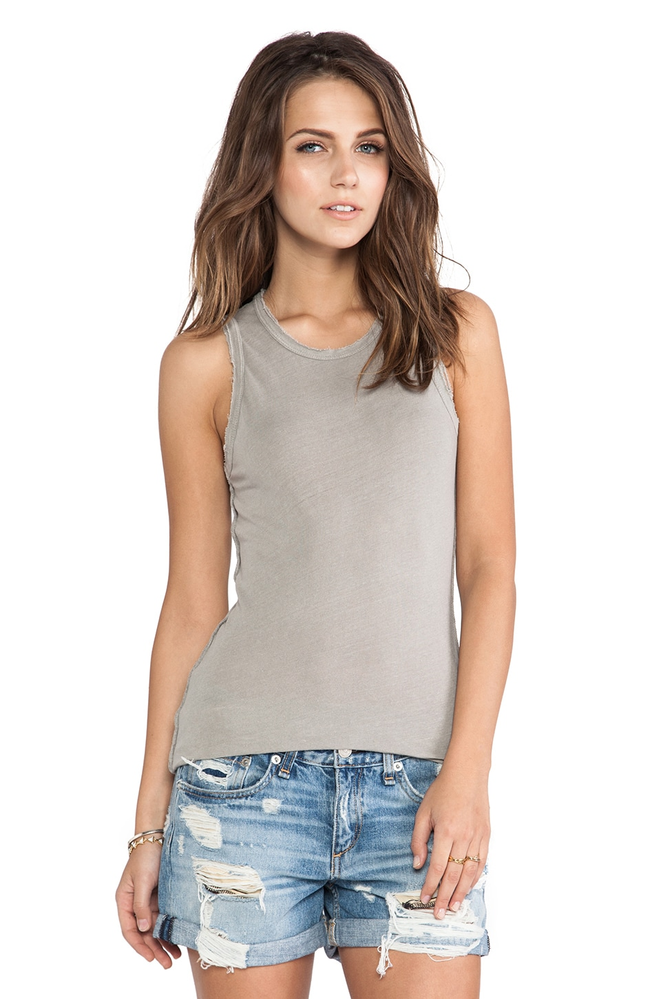 James Perse Inside Out Tomboy Tank in Shadow