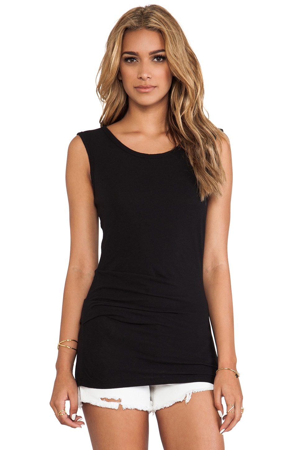James Perse Tucked Ballet Tank in Black