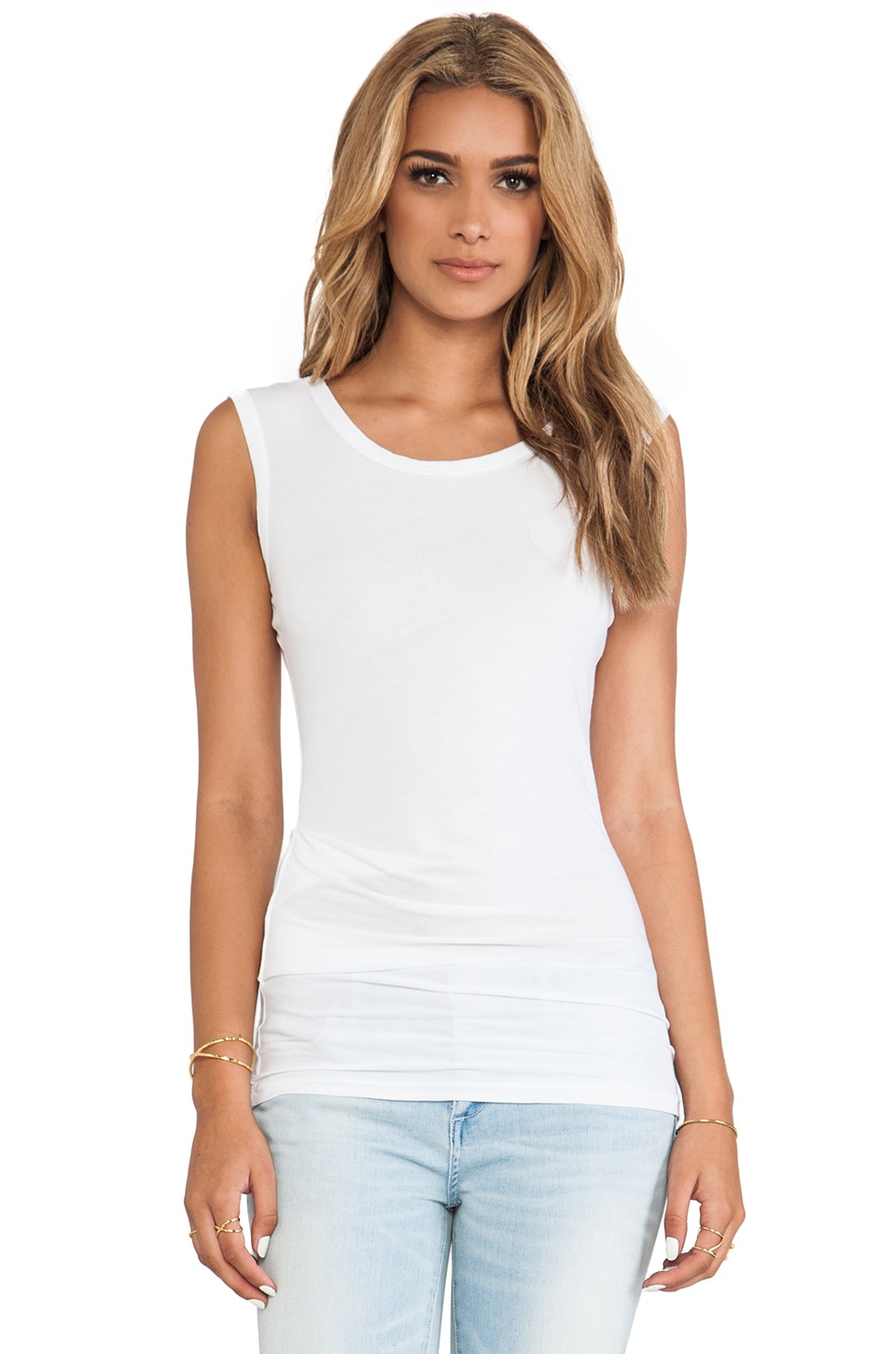 James Perse Tucked Ballet Tank in White