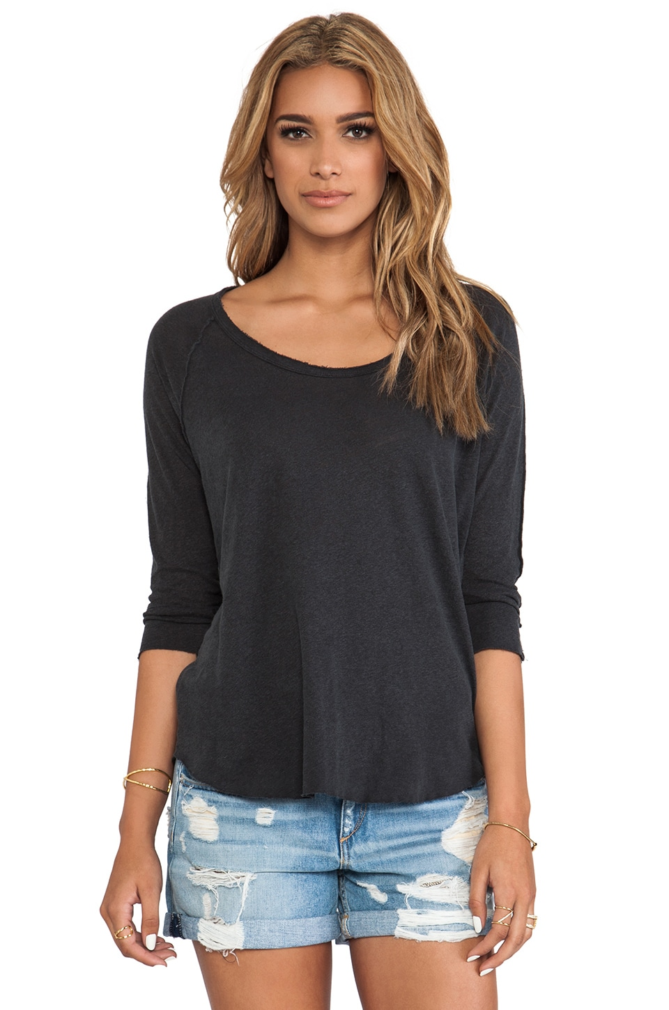 James Perse Inside Out Raglan Tee in Carbon