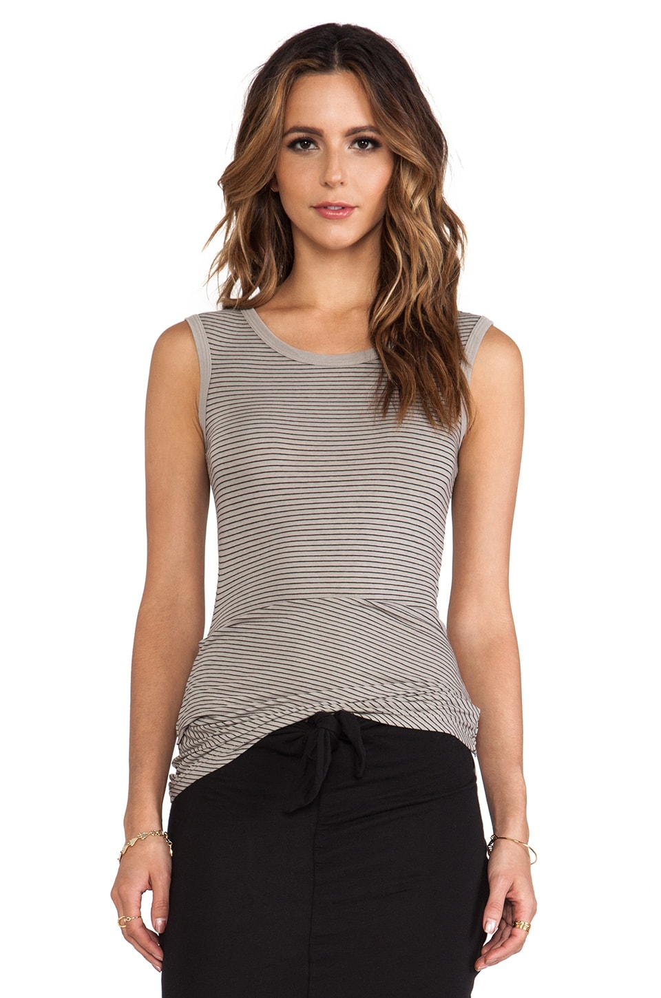 James Perse Tucked Stripe Ballet Tank in Shadow