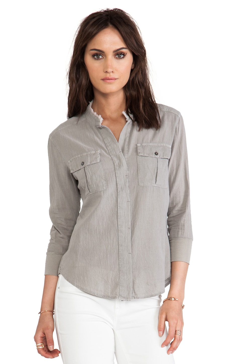 James Perse Collarless Safari Top in Shadow