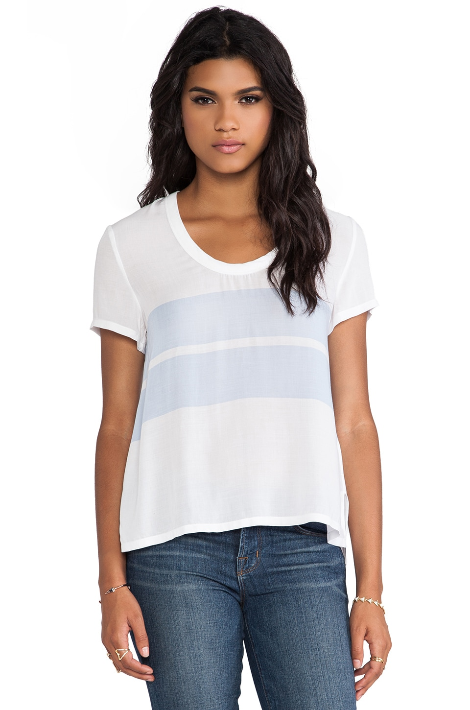 James Perse Relaxed Stripe Tee in White & Open Sky