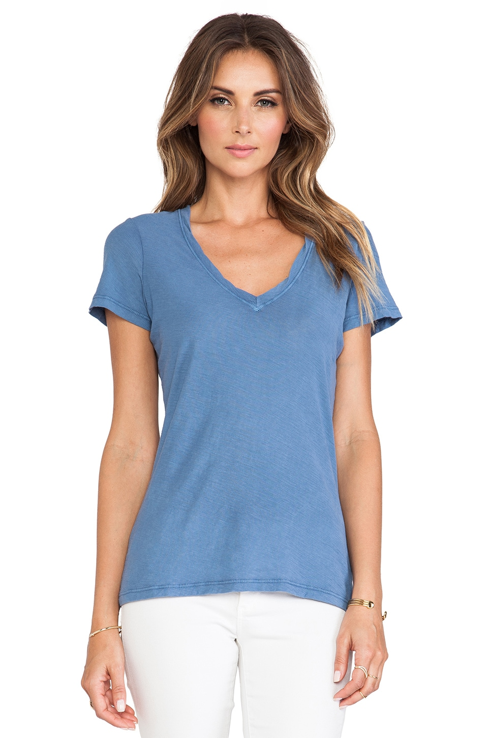 James Perse Casual Tee w/ Reverse Binding in Denim