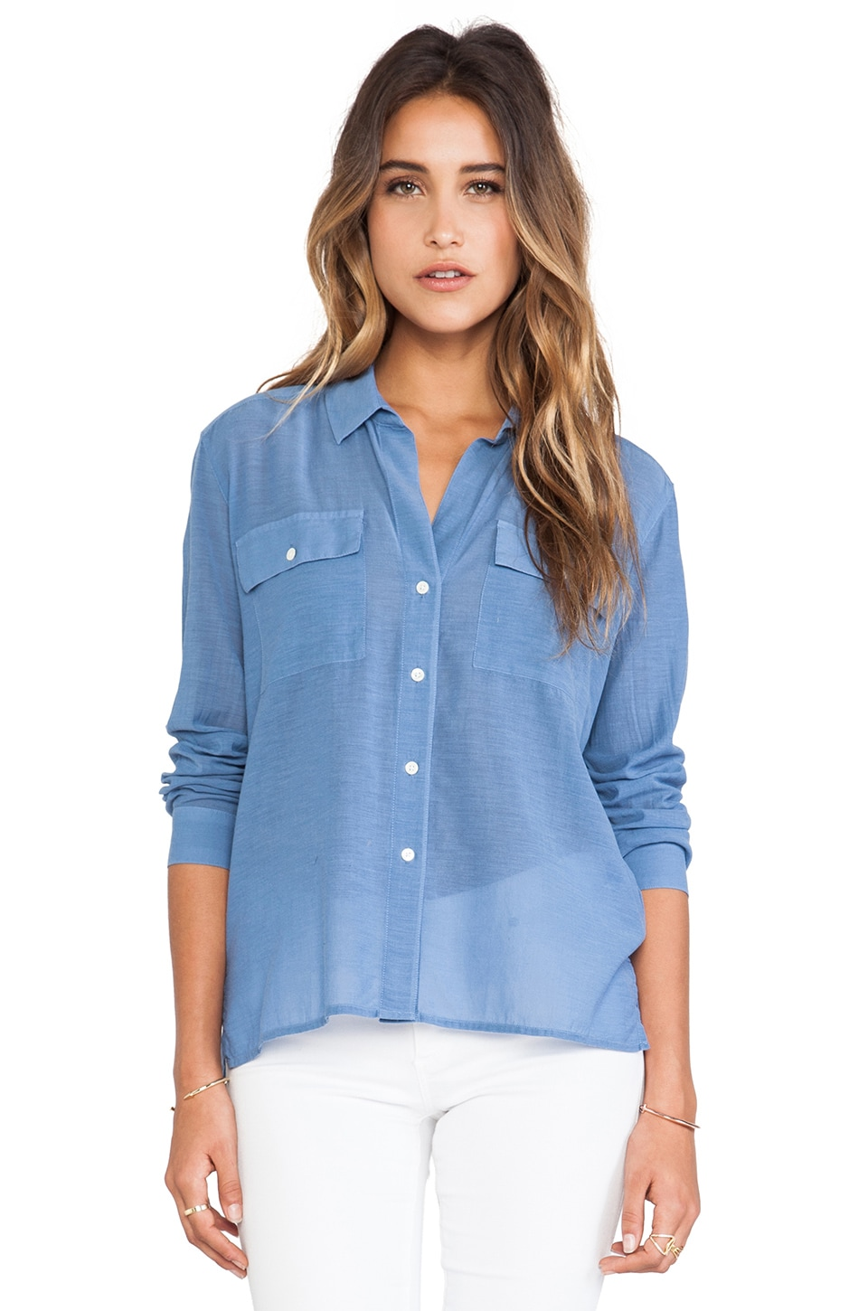 James Perse Silk Blend Pocket Shirt in Denim