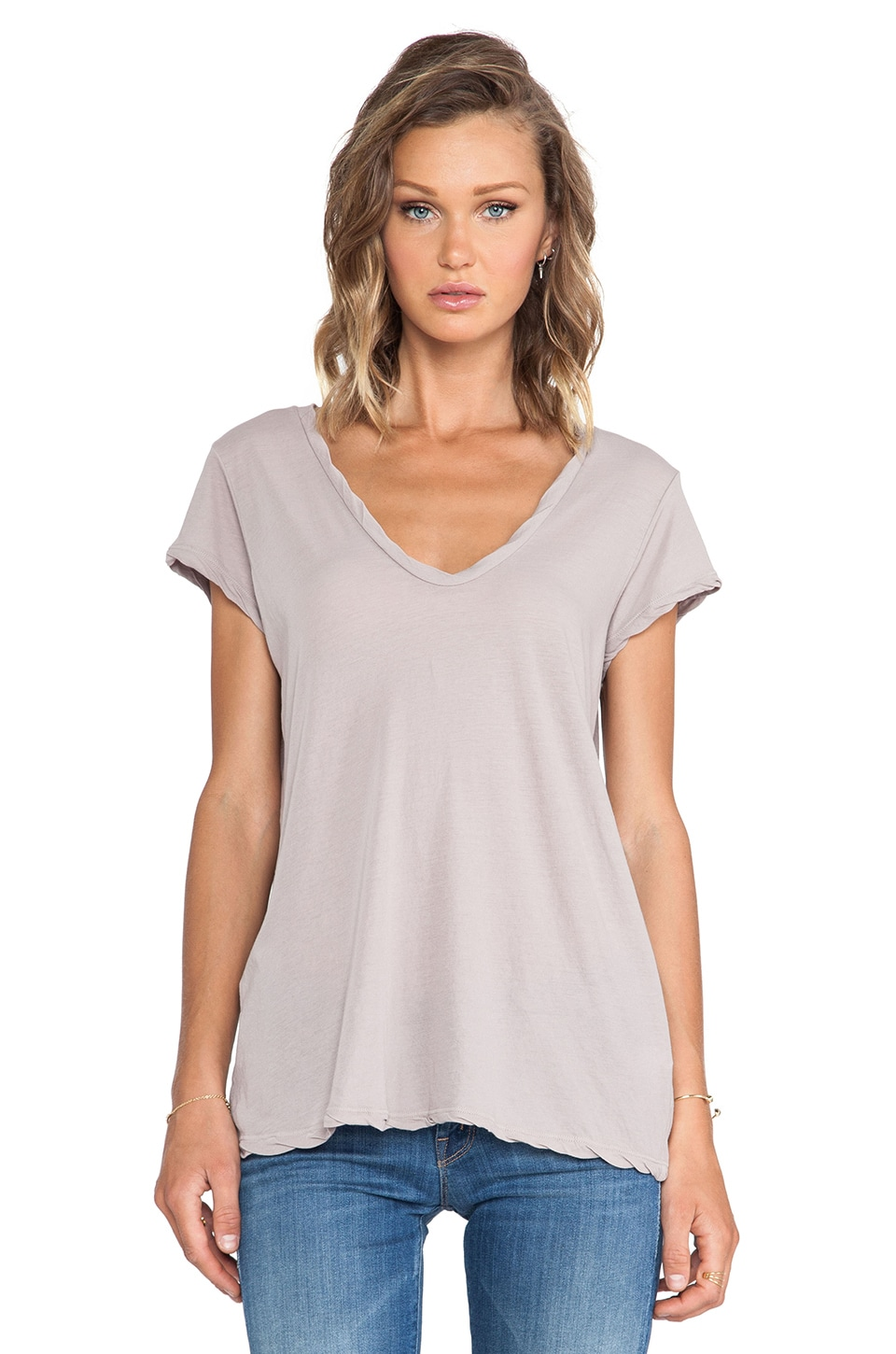 James Perse High Gauge Jersey Deep V Tee in Fossil
