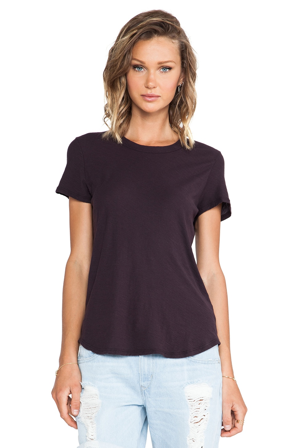 James Perse Sheer Slub Crew Neck Tee in Fig