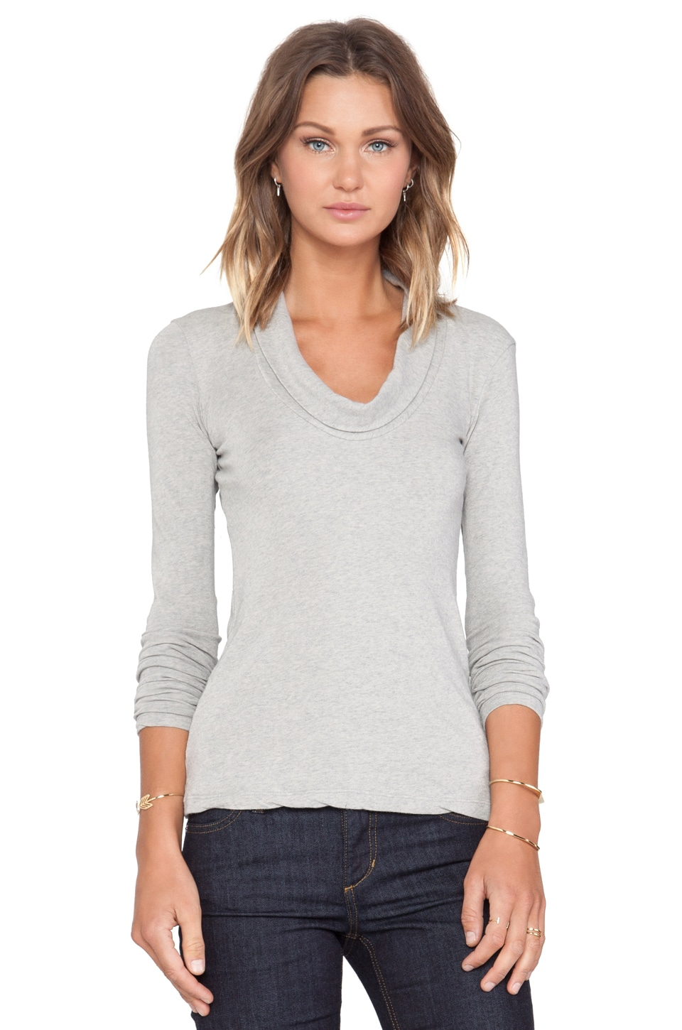 James Perse Skinny Cowl Cashmere Top in Heather Grey