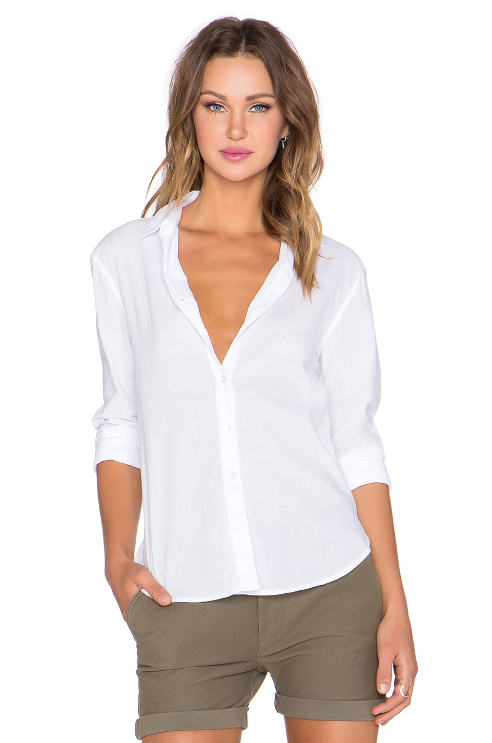 James Perse Classic Button Up in White
