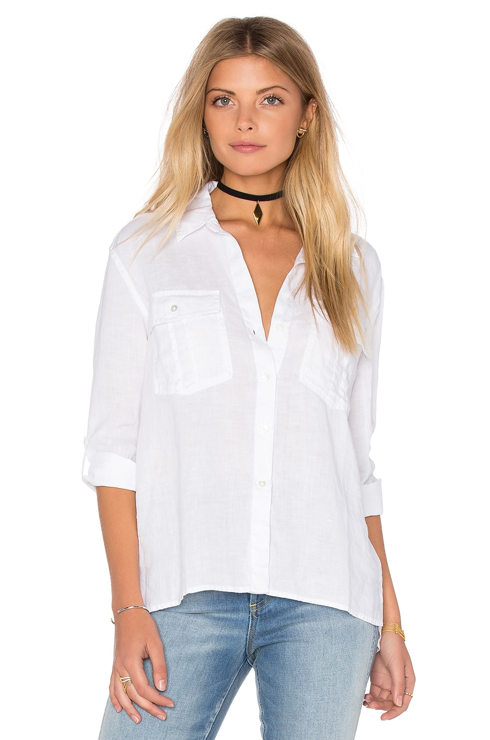James Perse Pocket Button Up Top in White