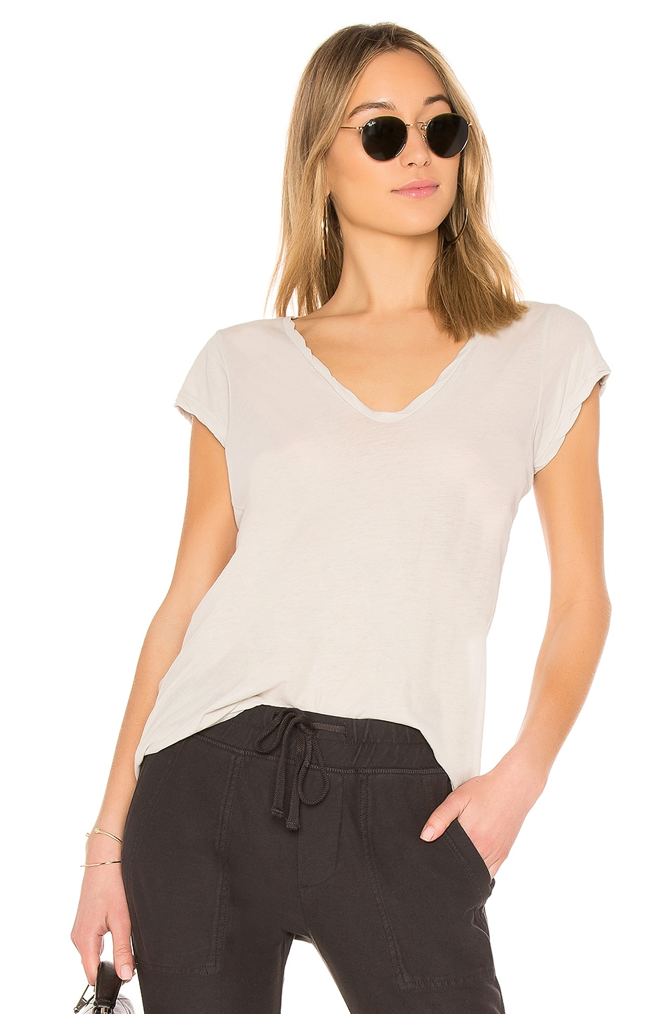 James Perse High Gauge Deep V Tee in Silver