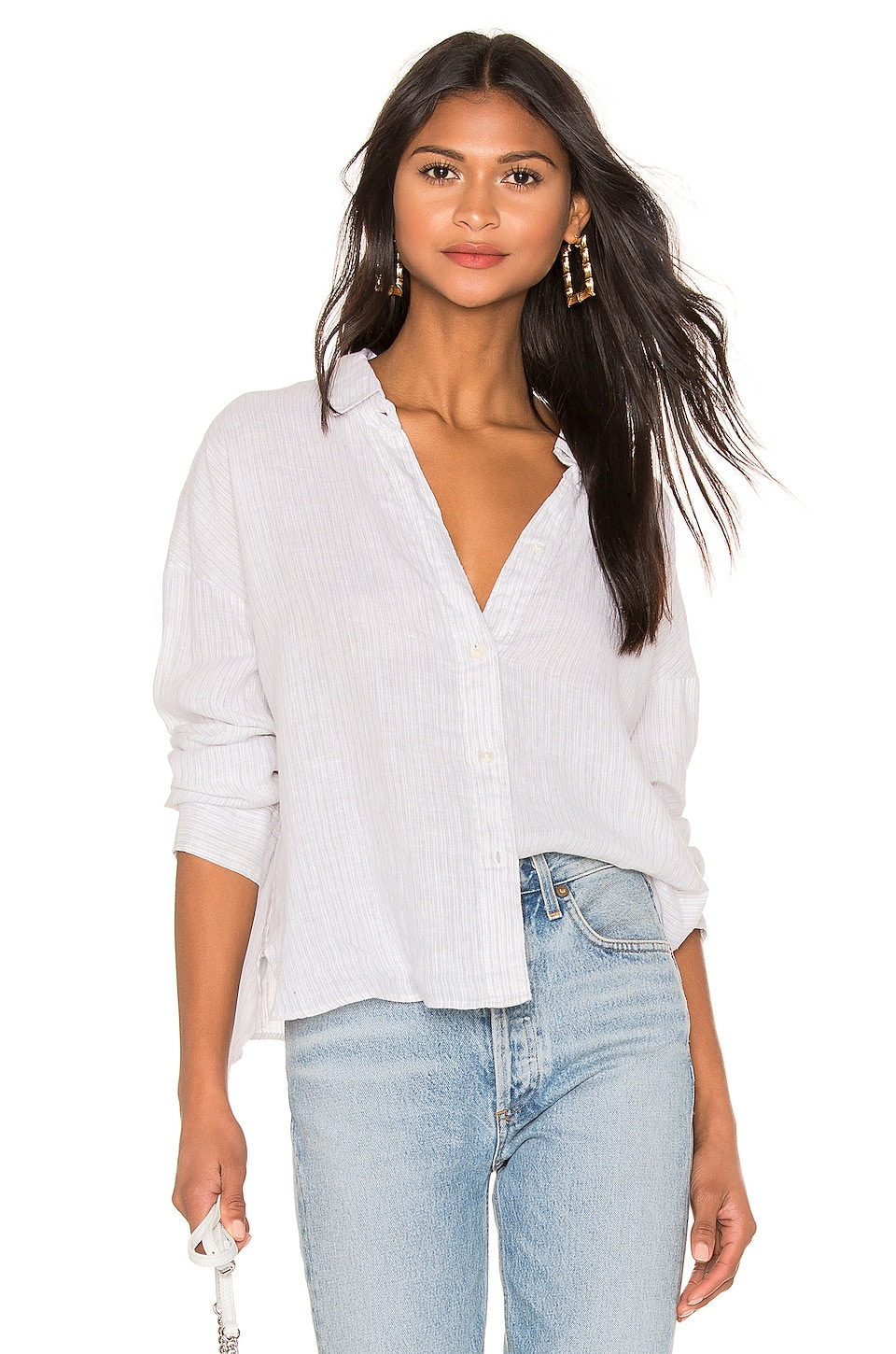 James Perse Relaxed Drape Shirt in Grey & White