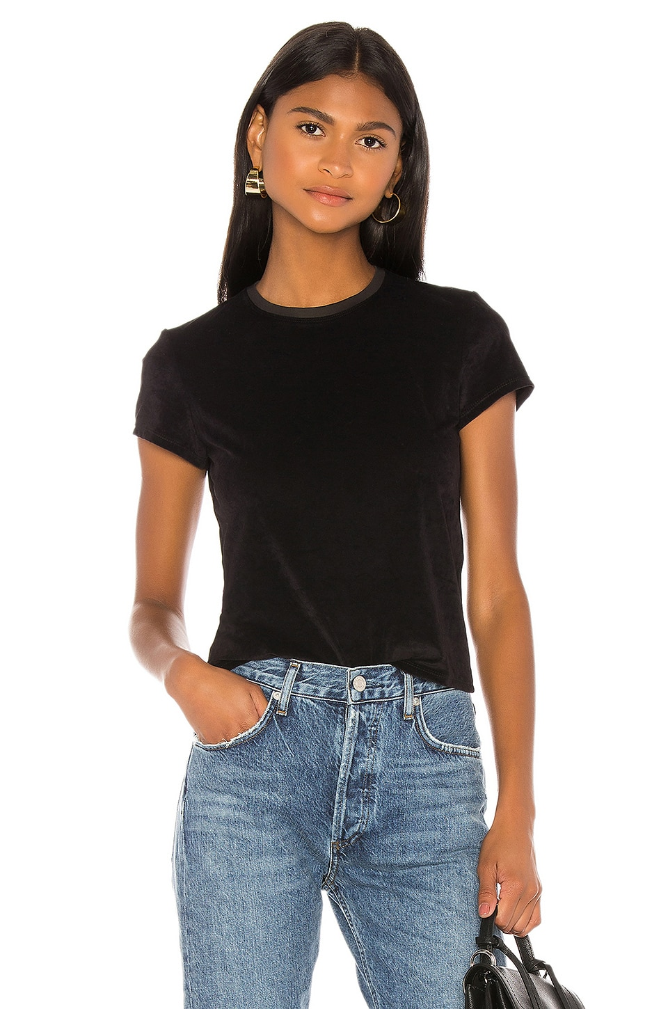 James Perse Velvet Tee in Black