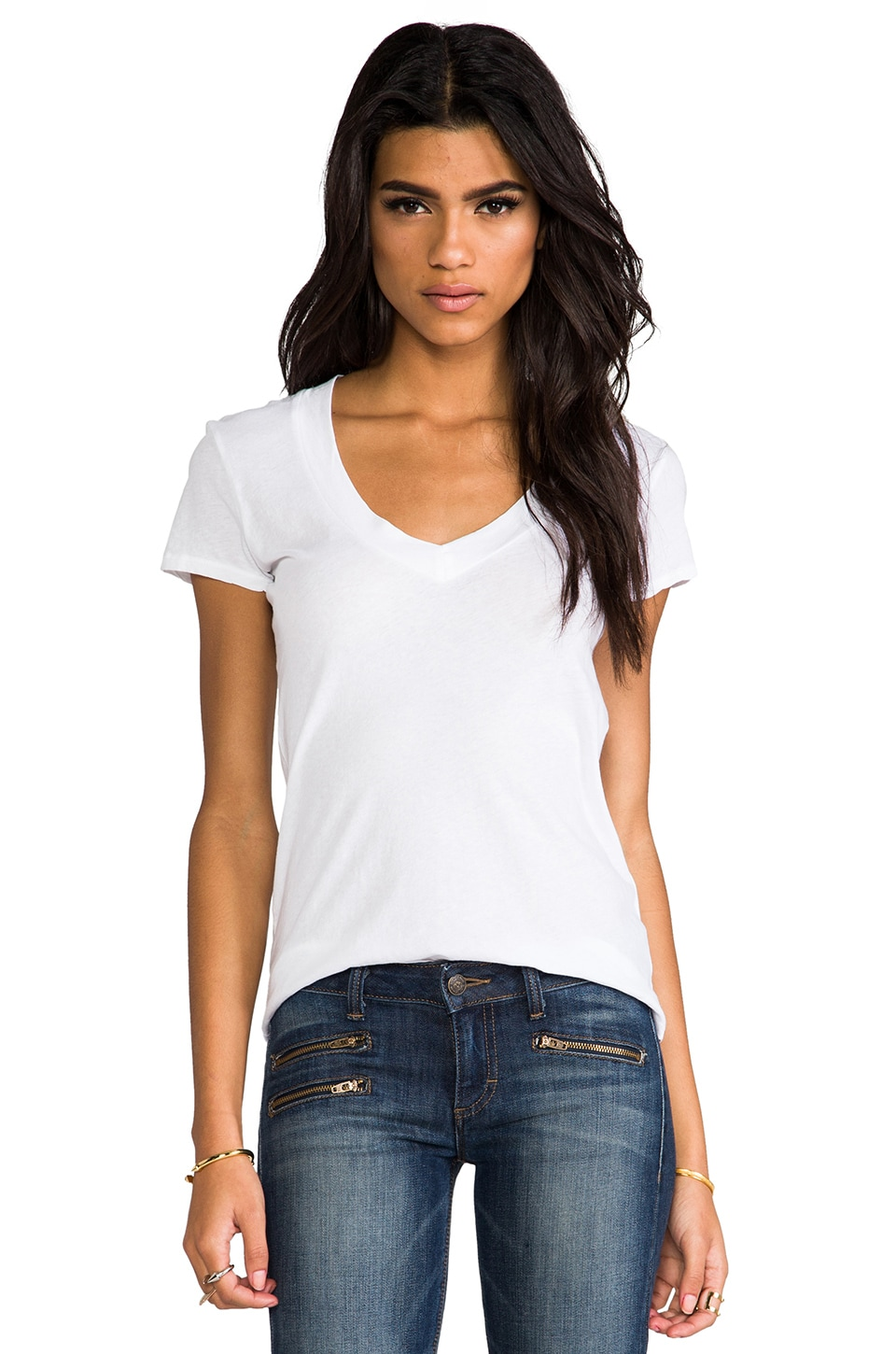 James Perse Classic Relaxed Casual V Tee in White