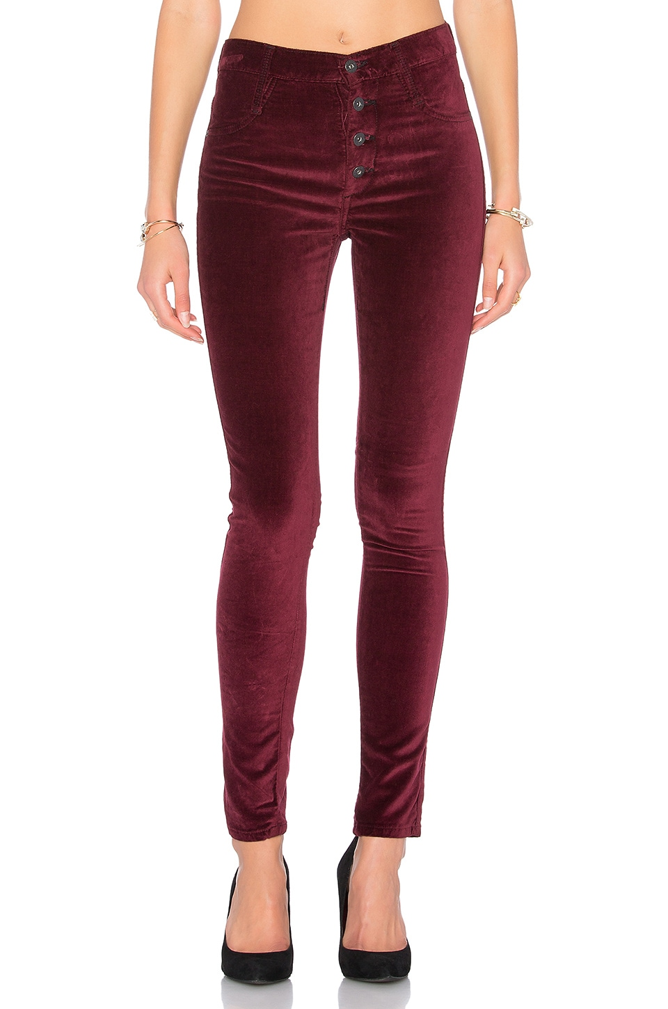 James Jeans High Class Velvet Skinny in Rouge Noir