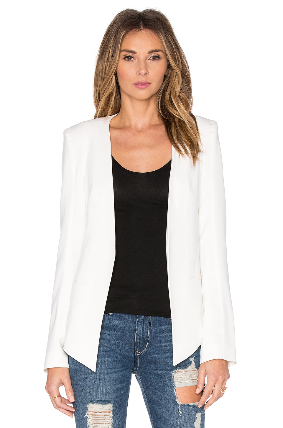 James Jeans V Boyfriend Blazer in Pearl White