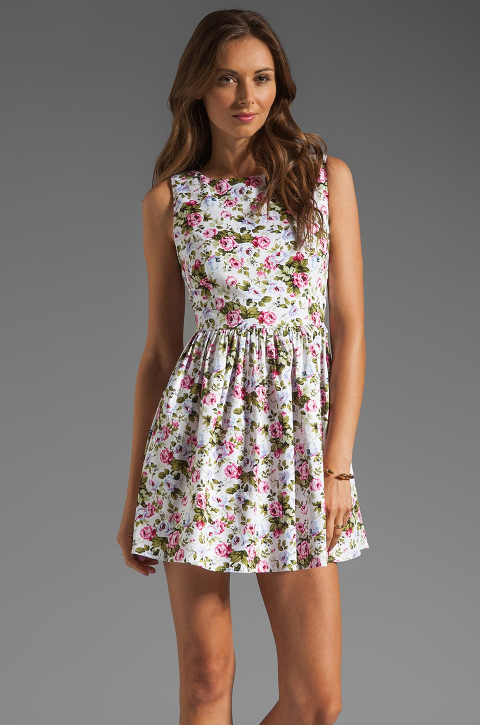 JARLO Selena Floral Dress in White