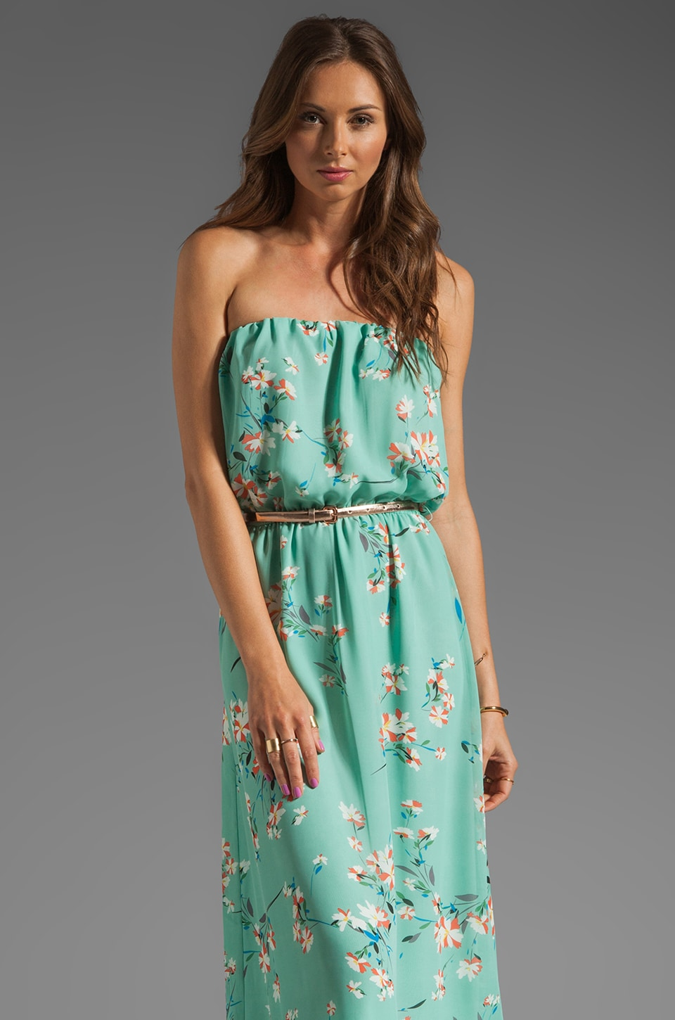 JARLO Layla Floral Maxi Dress in Mint