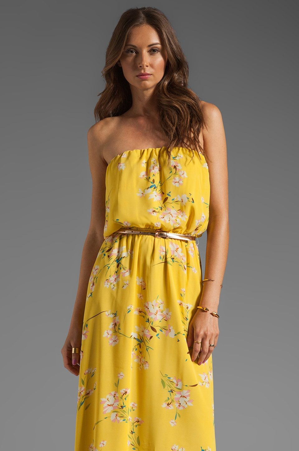 JARLO Layla Floral Maxi Dress in Yellow