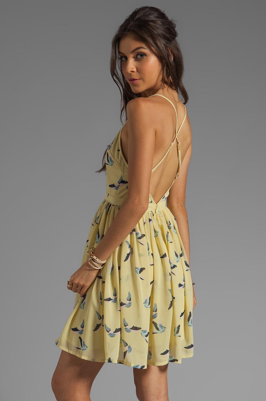 JARLO Mallory Criss Cross Back Bird Dress in Lemon