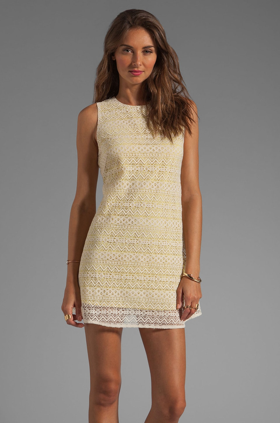 JARLO Tara Lace Tank Dress in Yellow