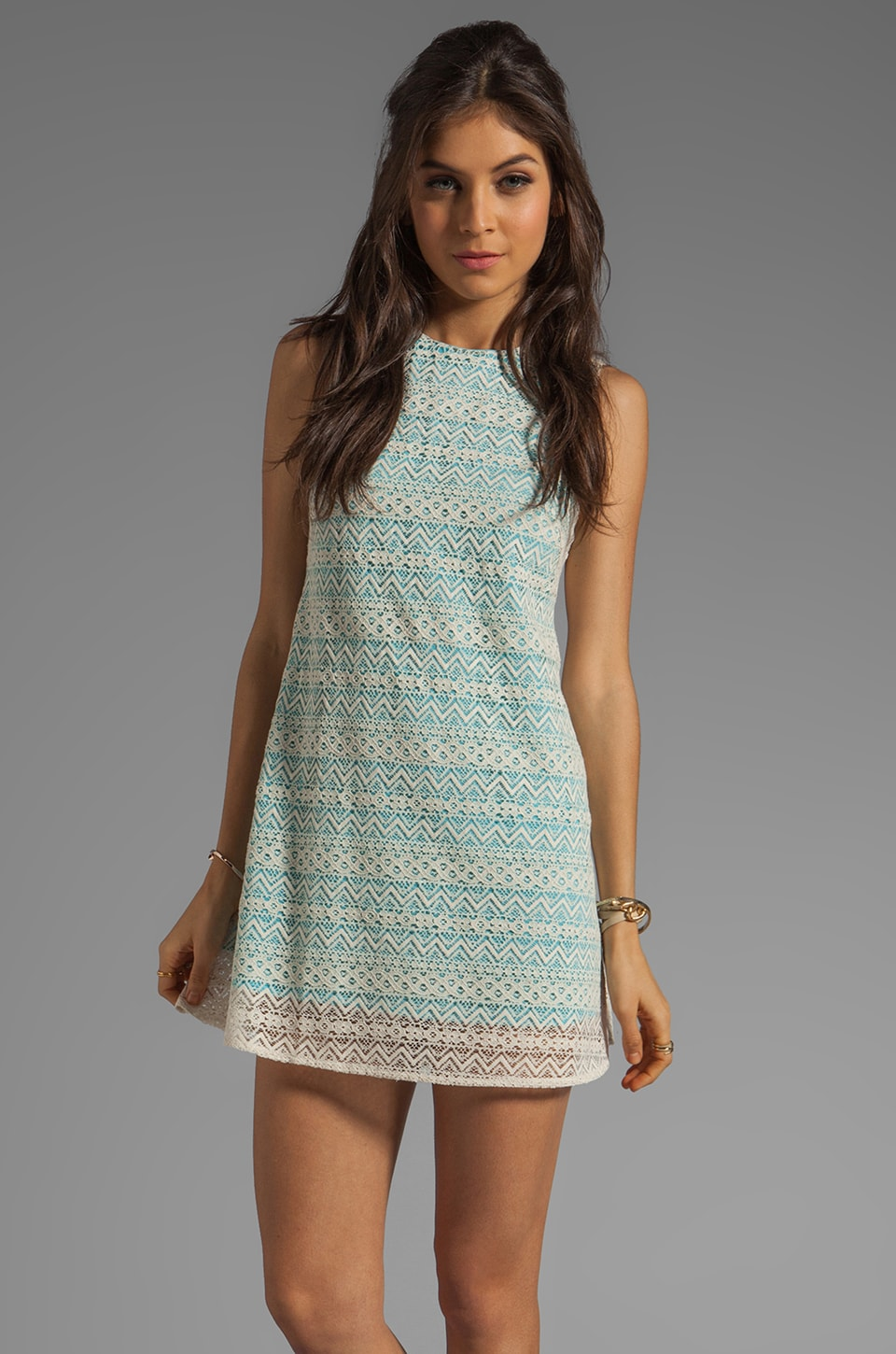 JARLO Tara Lace Tank Dress in Blue