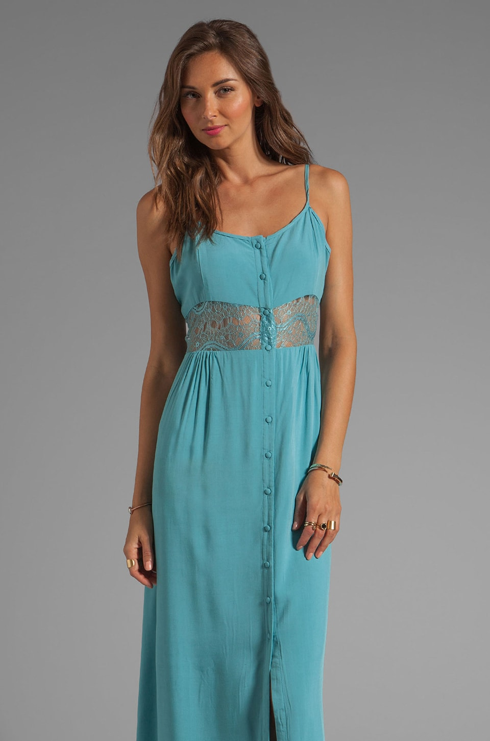 JARLO Patricia Lace Inset Maxi Dress in Blue