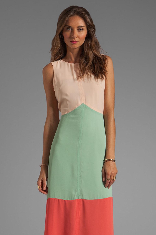 JARLO Jasmine Chevron Colorblocked Maxi Dress in Cream