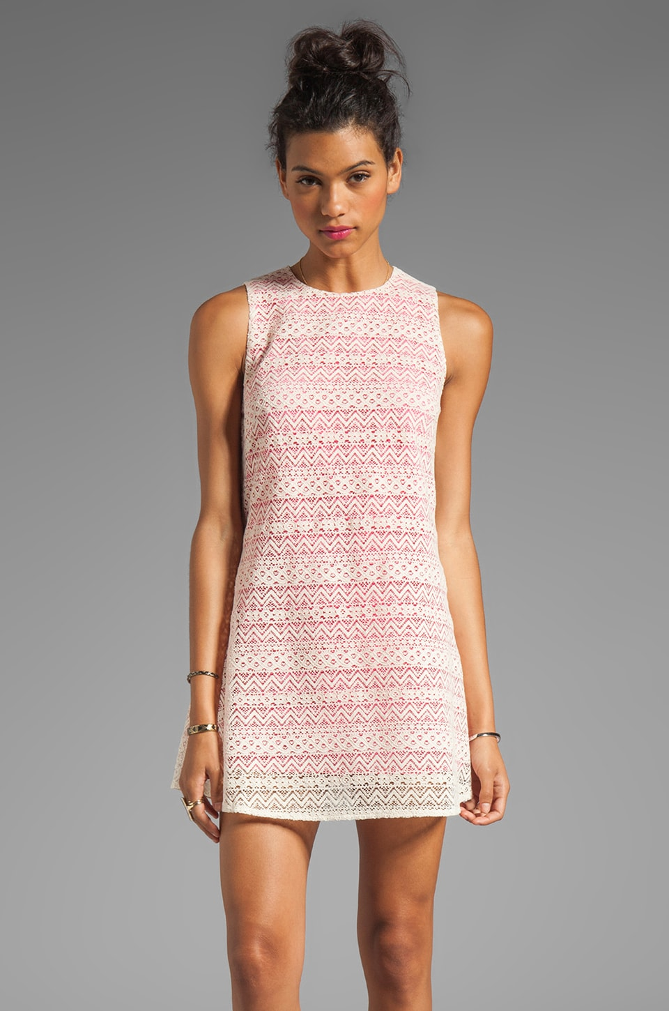 JARLO Tara Lace Tank Dress in Pink