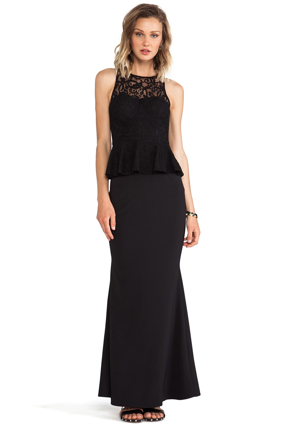 JARLO Pia Maxi Tank Dress with Peplum in Black