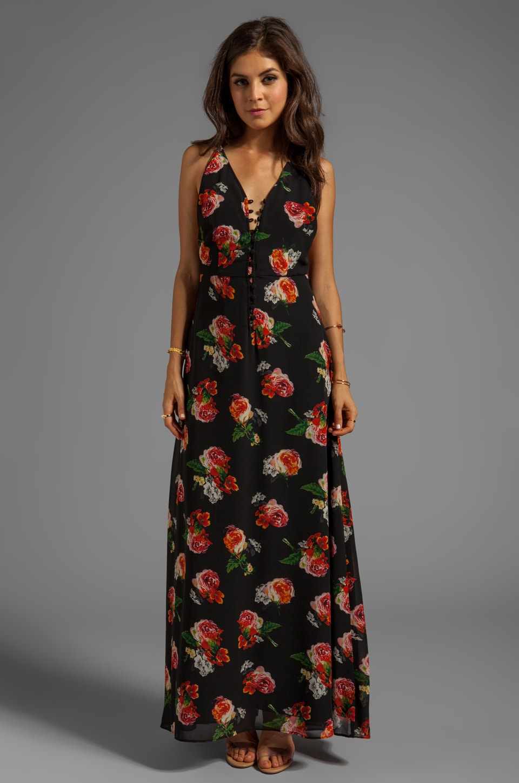 JARLO Rhiannon Maxi Tank Dress in Black Floral