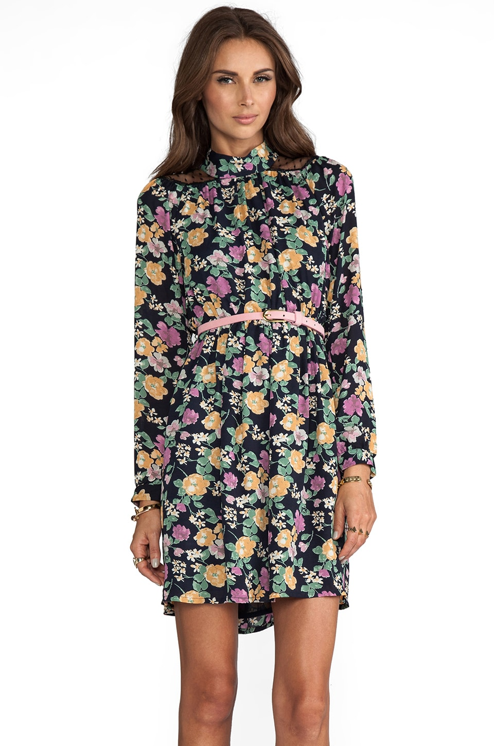 JARLO Jesse Long Sleeve Floral Dress in Magenta