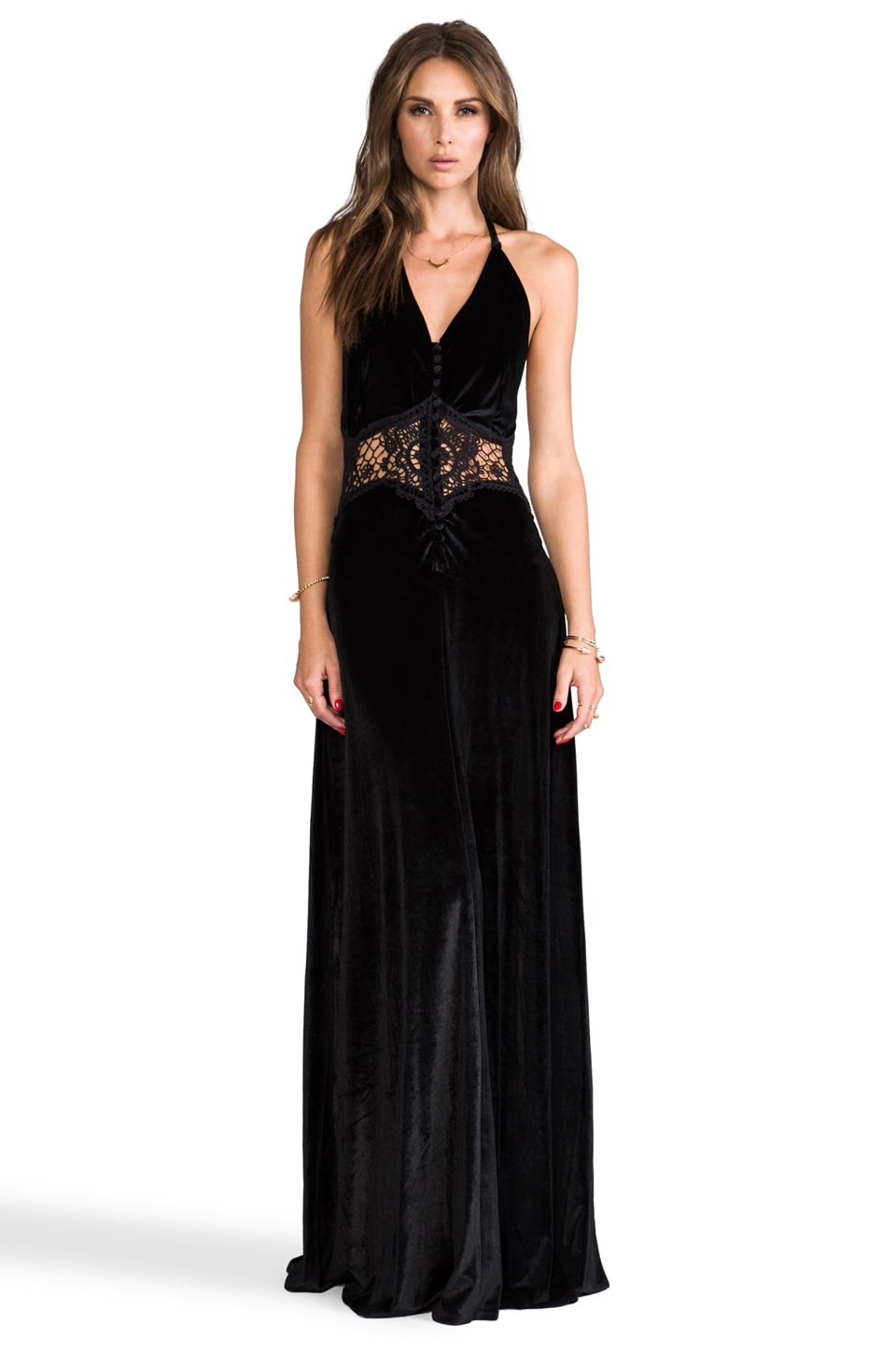 JARLO Siobahn Velvet Maxi Dress in Black