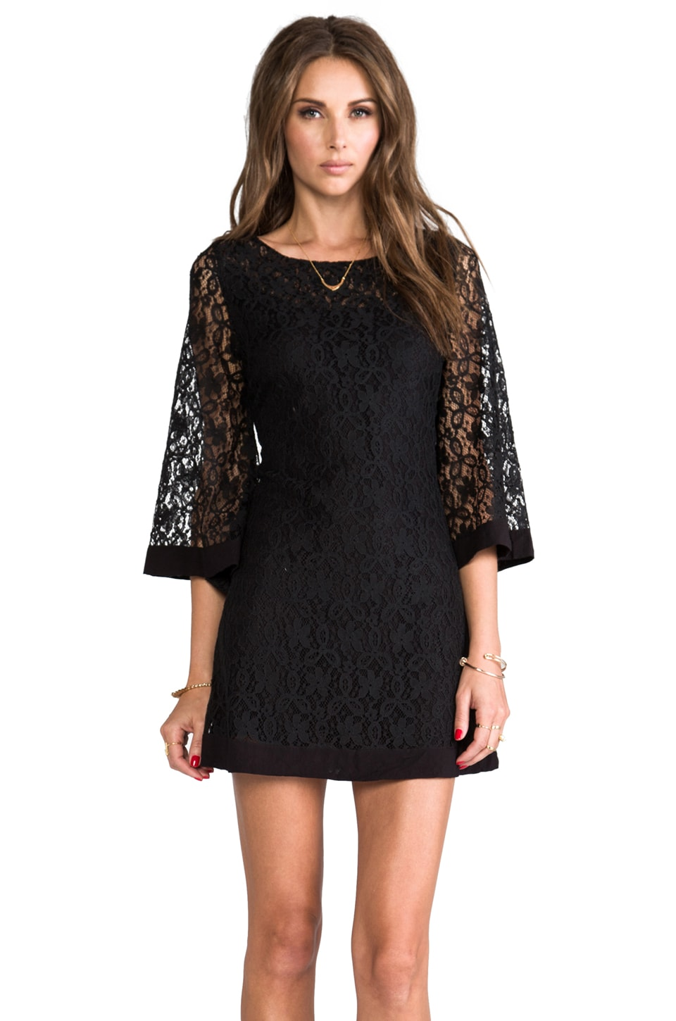 JARLO Jocelyn Long Sleeve Lace Dress in Black