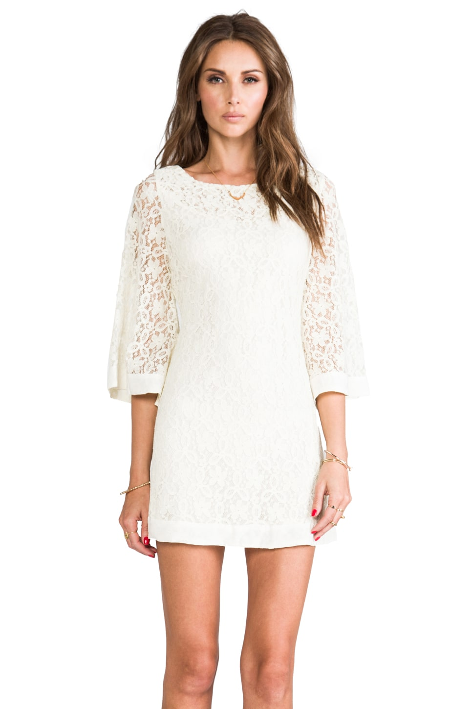 JARLO Jocelyn Long Sleeve Lace Dress in Cream