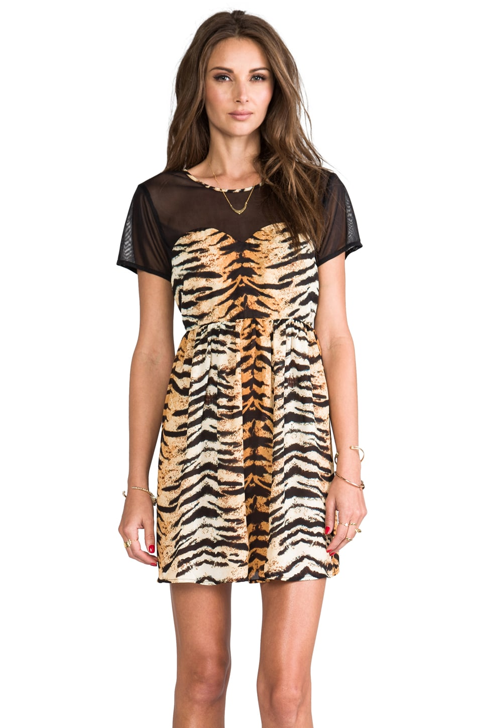 JARLO Estella Short Sleeve Animal Print Dress in Orange