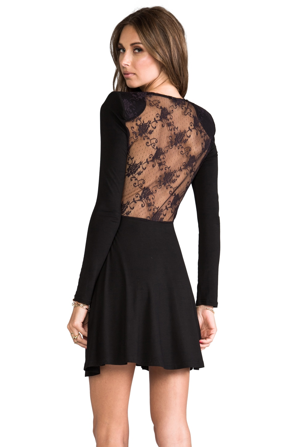 JARLO Naimh Long Sleeve Mini Dress in Black
