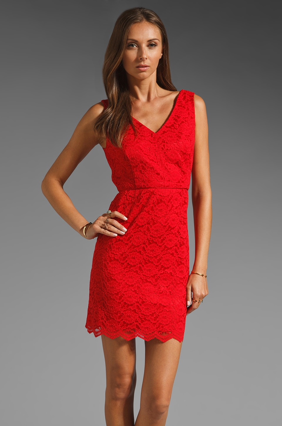 JARLO Marilyn Lace Dress in Red
