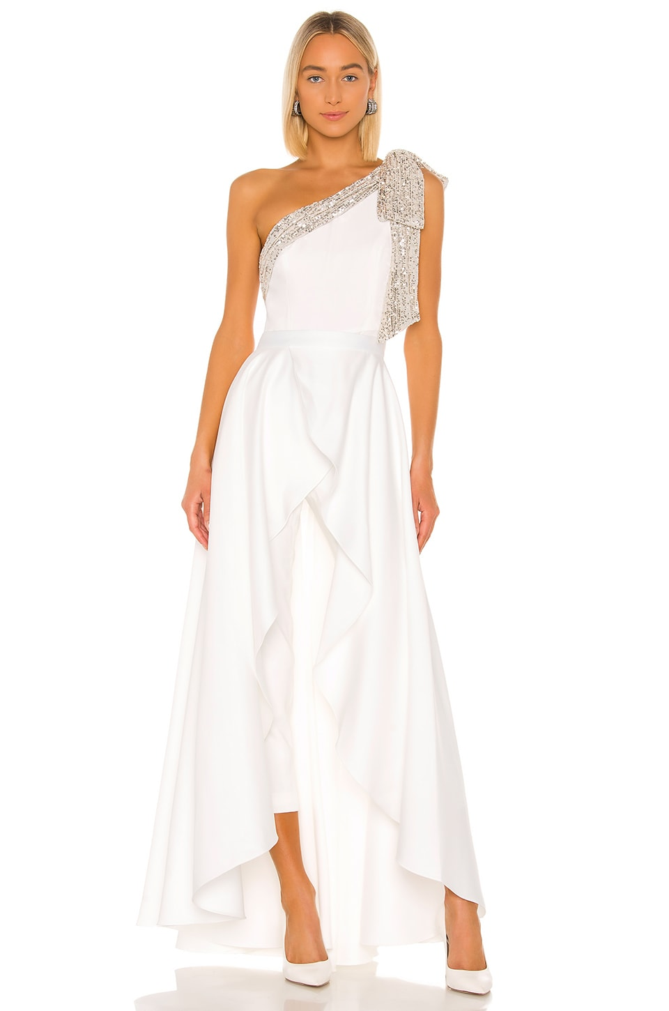 Jay Godfrey Gavin Jumpsuit With Satin Overskirt in Light Ivory, Silver & Diamond White