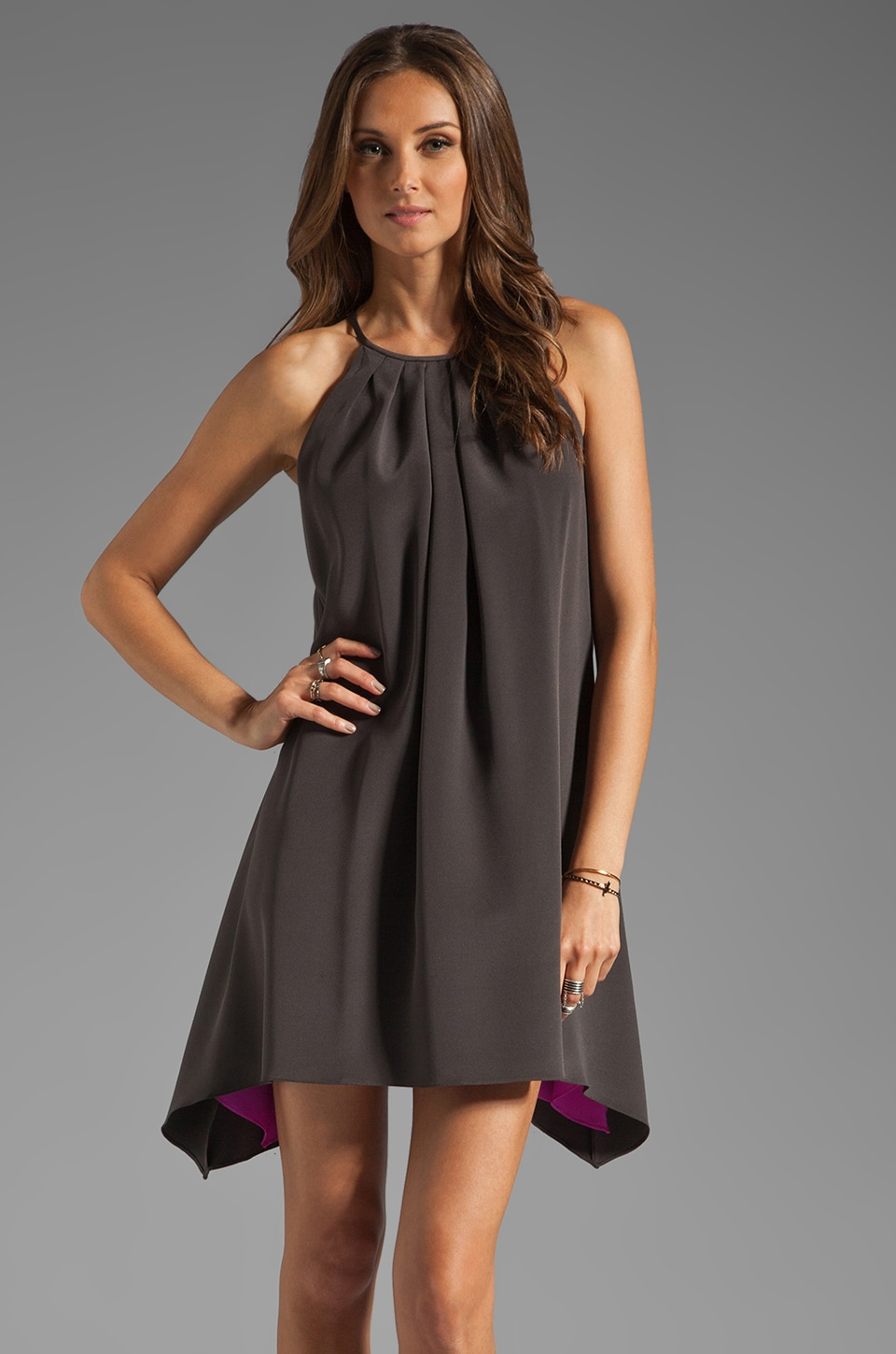 Jay Godfrey Wells Pleated Neckline Dress in Charcoal/Shocking Pink