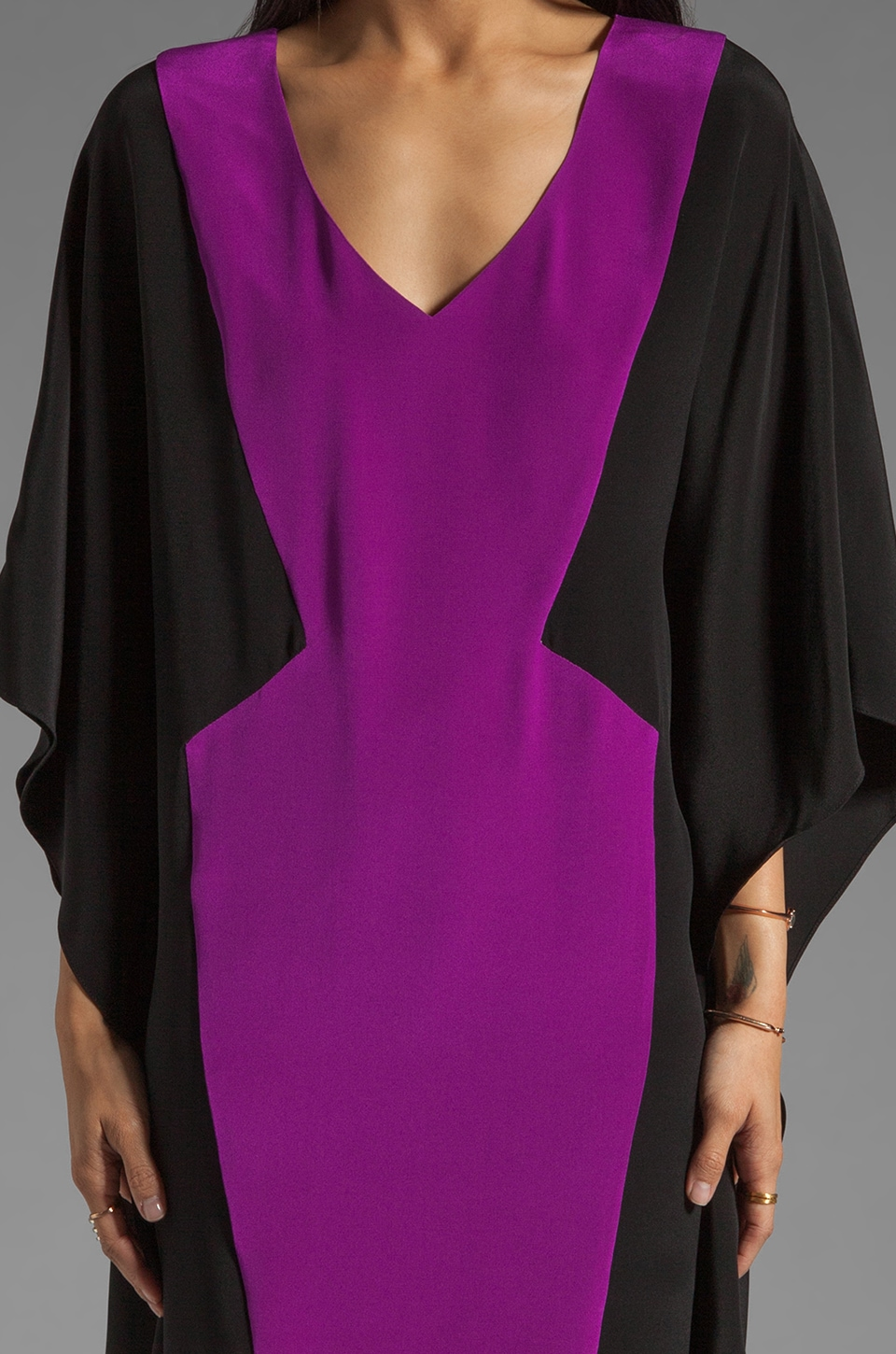 Jay Godfrey Hardee Kimono Dress in Black/Dahlia