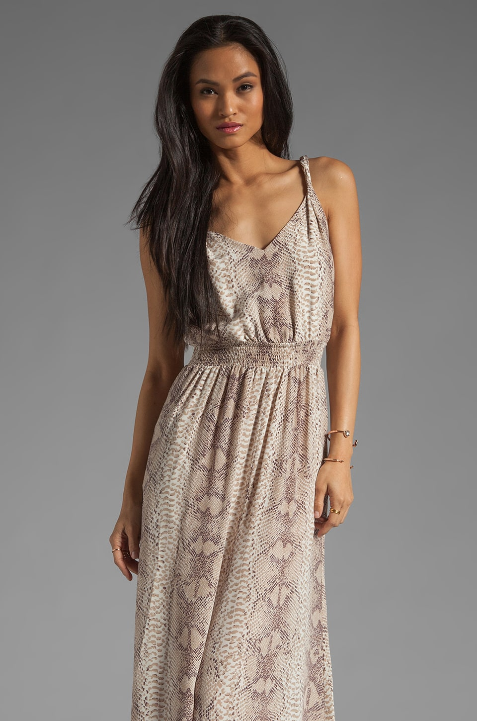 Jay Godfrey Powell Twisted Strap Maxi Dress in Taupe Multi