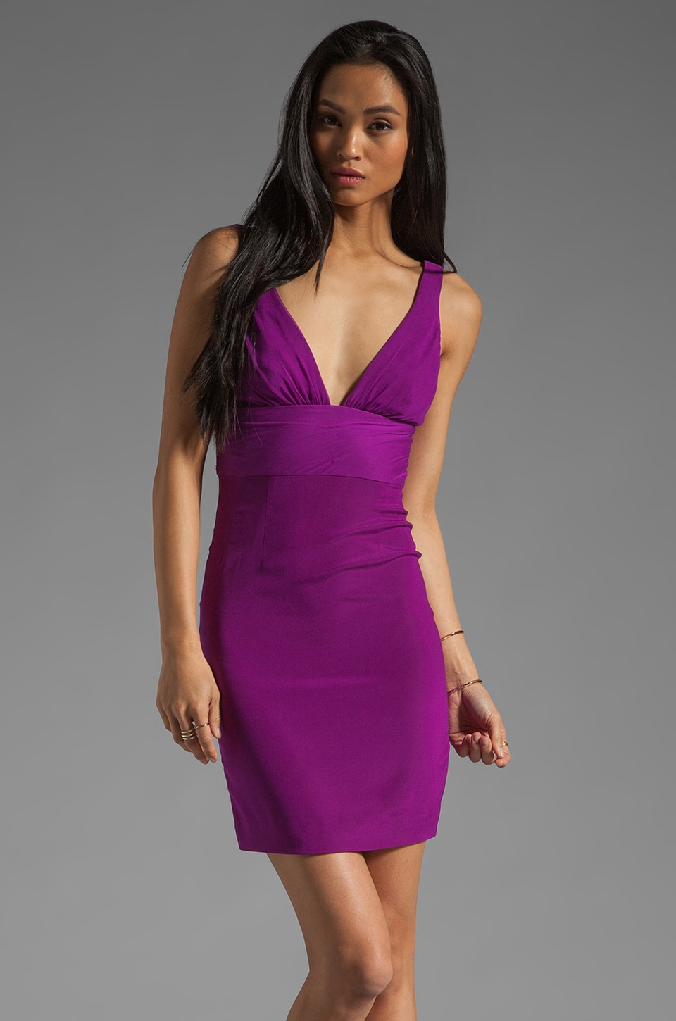 Jay Godfrey Yates Plunging V Neck Dress in Dahlia