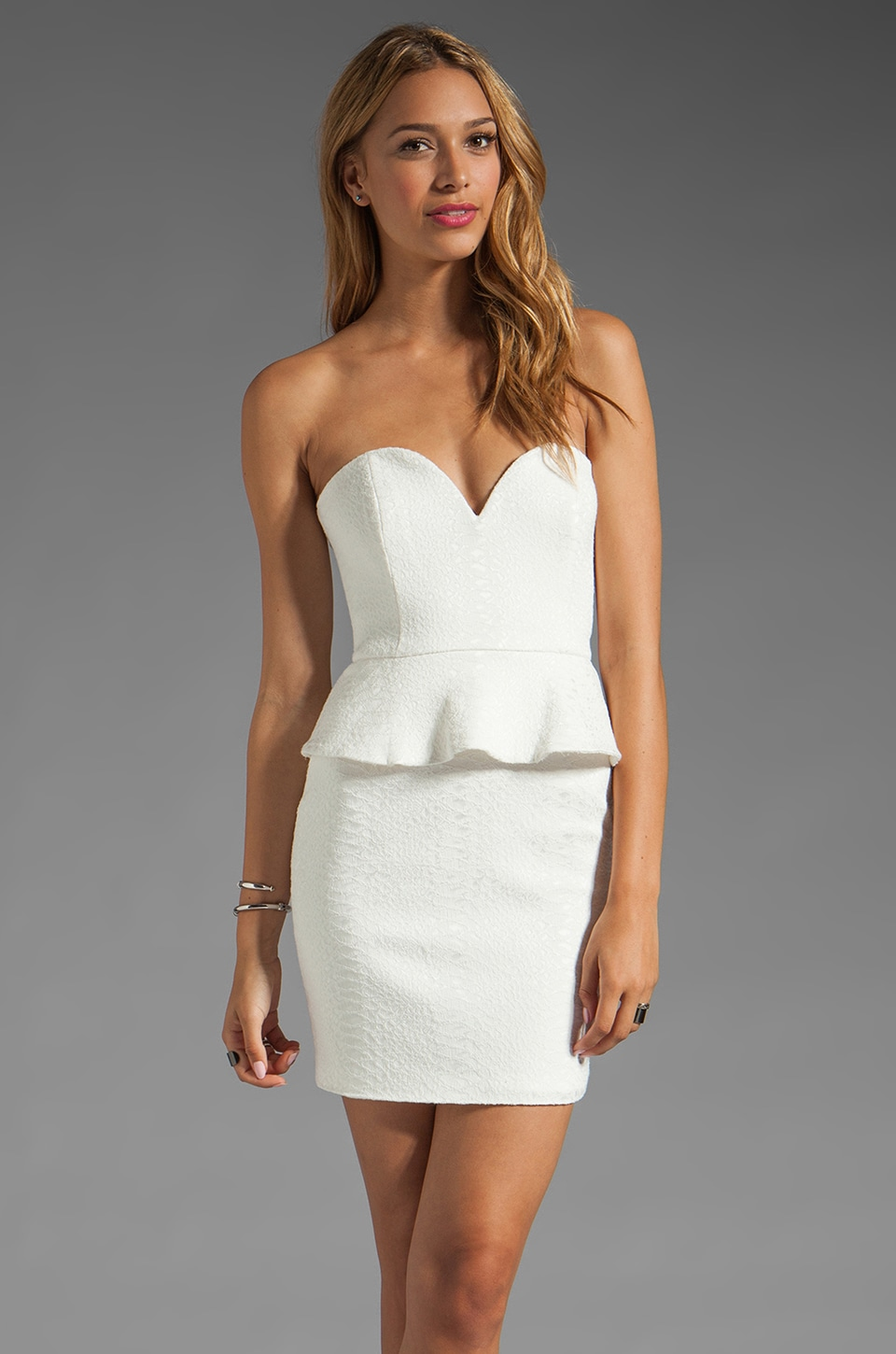 Jay Godfrey Randolph Bustier Peplum Dress in White
