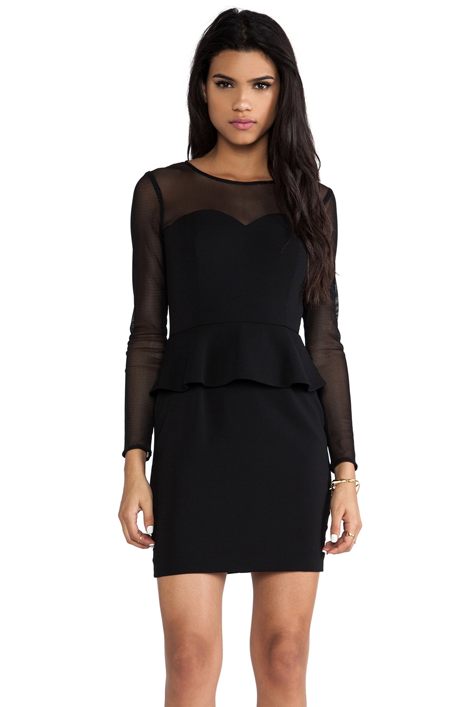 Jay Godfrey Hyland Peplum Dress with Mesh Long Sleeves in Black