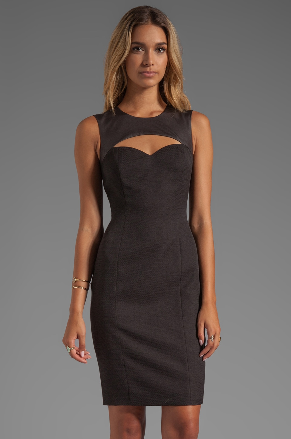 Jay Godfrey Strachan Jacquard Sheath Dress in Black