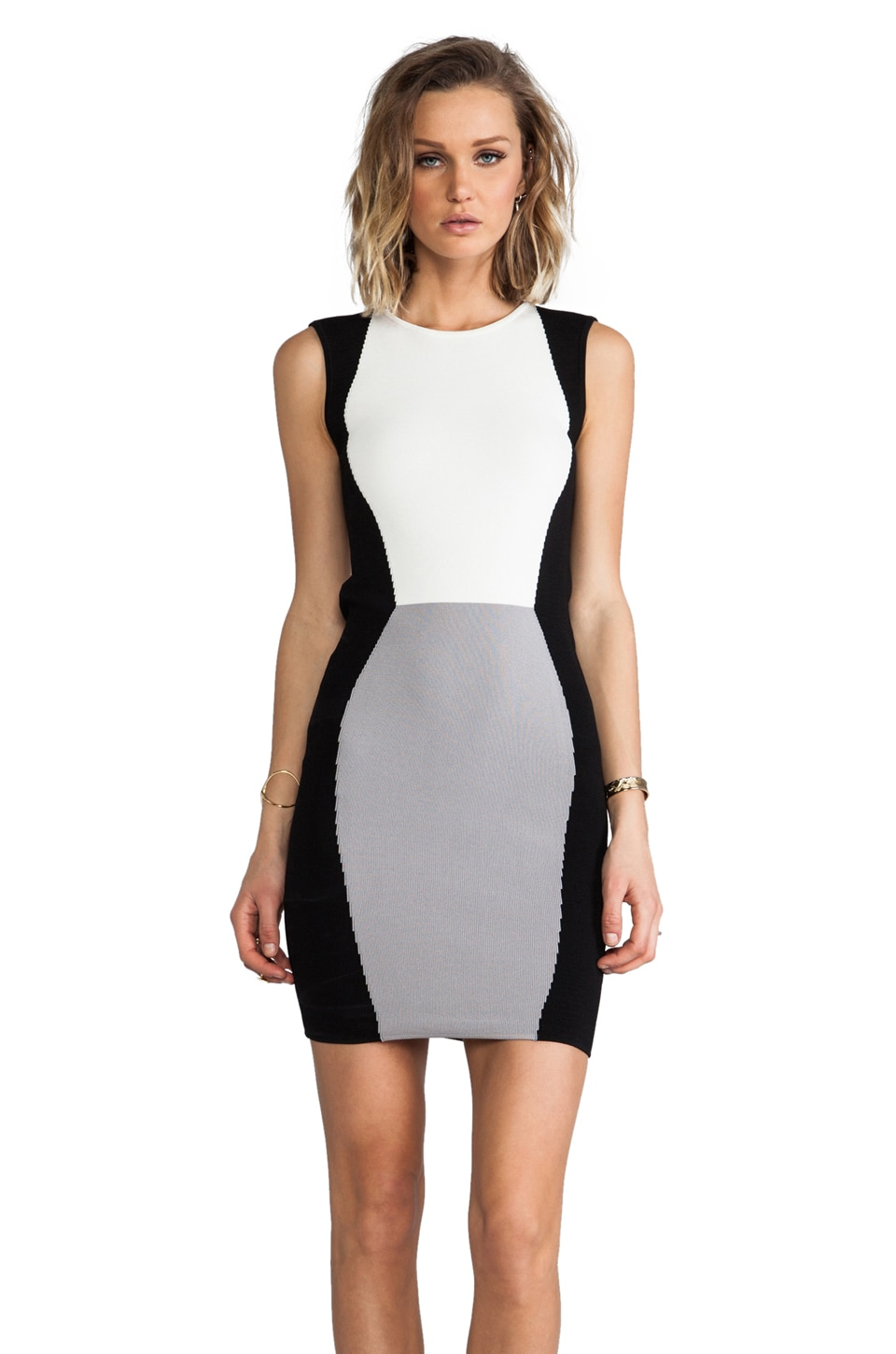 Jay Godfrey Sterling Colorblock Knit Sheath in Grey/White/Black