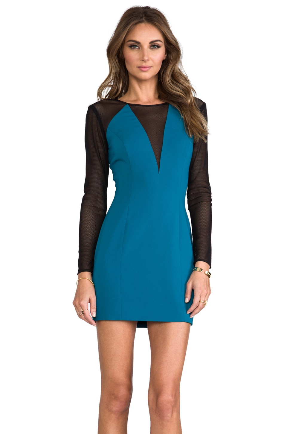 Jay Godfrey Thompson Dress in Peacock/Black