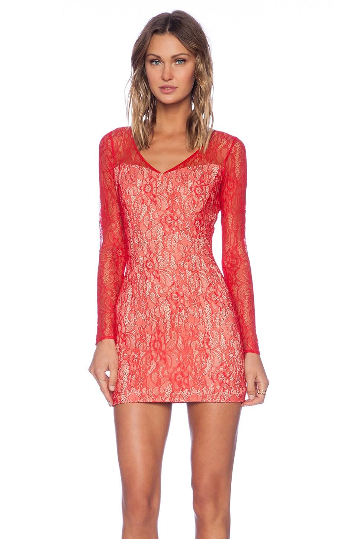 Jay Godfrey Montoya Lace Dress in Red & Nude